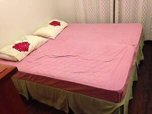 2 Single Beds (mattress and base) on wheels + valance Pennant Hills Hornsby Area Preview