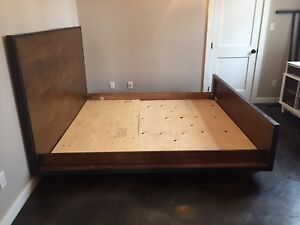 King size bed frame. Metal and solid wood modern