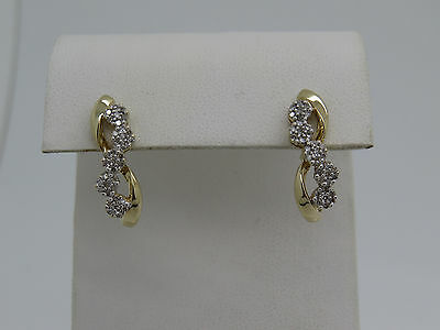 Diamond Accent Cluster Earrings (Solid 10k Yellow Gold Round Diamond Chip Accent Cluster Pierced Drop Earrings )