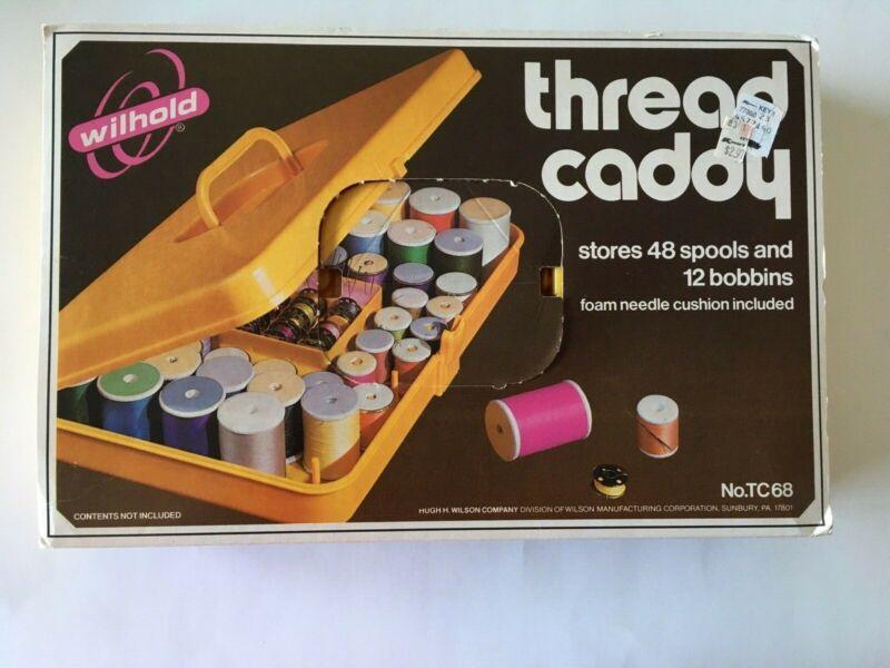 Vintage Yellow Wilson Wilhold Thread Caddy Sewing Box Bobbin Spool Organizer