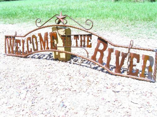 Metal Welcome to the RIVER Sign Wall Entry Gate 44 3/4 inch
