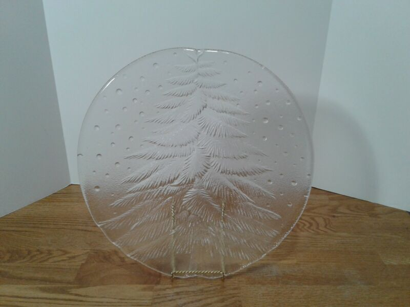 """Holiday Christmas Tree Clear Glass Round Serving Platter Tray Cookie Plate 14"""""""