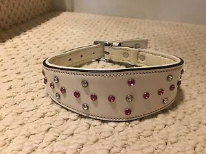 "17.5-21""  leather and Swarovski crystal dog collar"