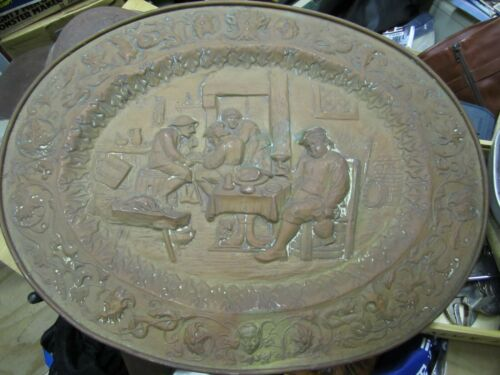 HUGE ANTIQUE GERMAN REPOUSSE COPPER ORNATE FIGURAL WALL HANGING PLAQUE TRAY