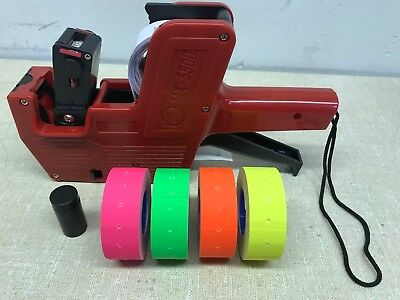 Mx-5500 8 Digits Price Tag Gun Labeler 4 Color Rolls 4x1200 Labels 1 Inker