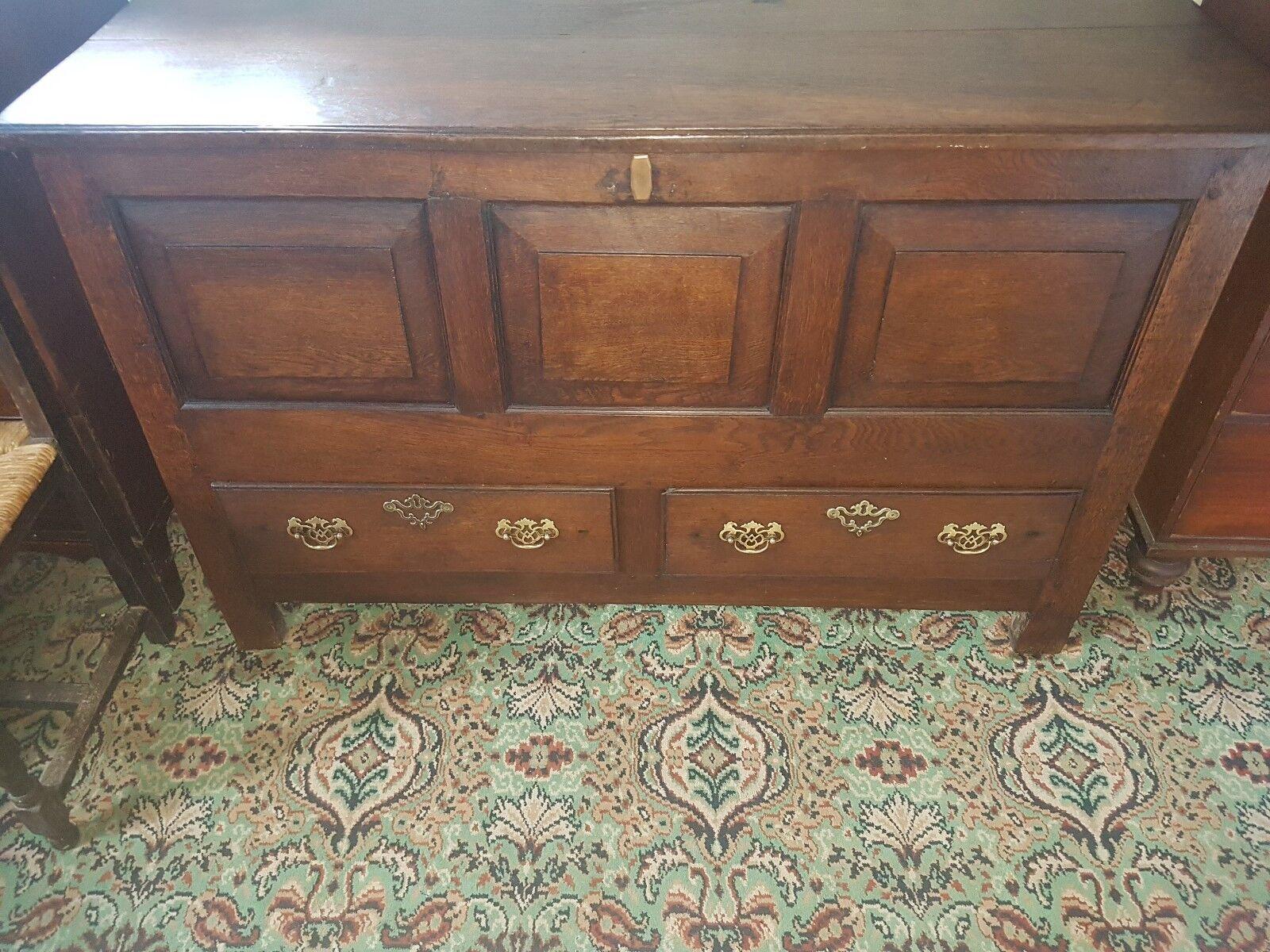 Large Oak Panelled 18th century Oak mule chest