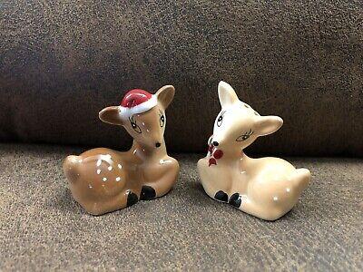 NEW IN BOX Pottery Barn Galloping Reindeer Salt Pepper Shakers Stand Set Deer