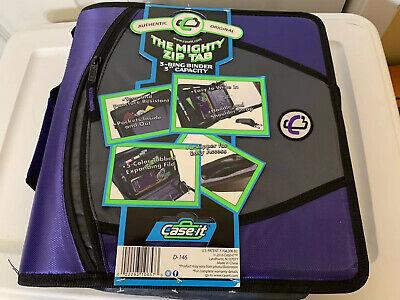 New Case-it The Mighty Zip Tab 3 O-ring Zipper Binder Wtab File Purple Nwt