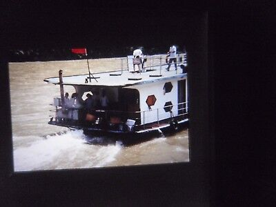 Original Slide China boat ship taxi ferry Tourist vacation river canal 1980's