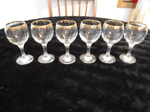Valencia Water Goblets glasses set vintage 24 karat gold rims