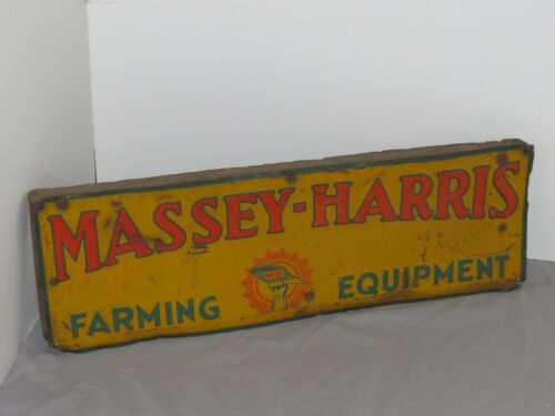 Vintage MASSEY HARRIS Farming Equipment Tin SIGN Original tractor EMBOSSED