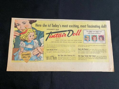 #01 EFFANBEE DOL Sunday Third Page Advertisement TINTAIR DOLL ctober 28, 1951