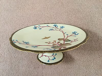English aesthetic period HP footed dessert tray cherry blossoms and butterfly