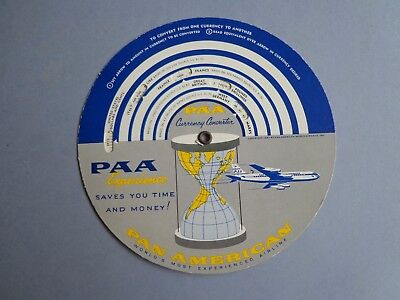 Vintage Pan Am Pan American World Airways Clipper Currency Converter Time Select