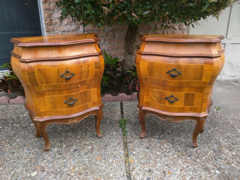 Vintage French Bombe Commode Natural Wood Veneer End Side Tables w/ Drawers Pair