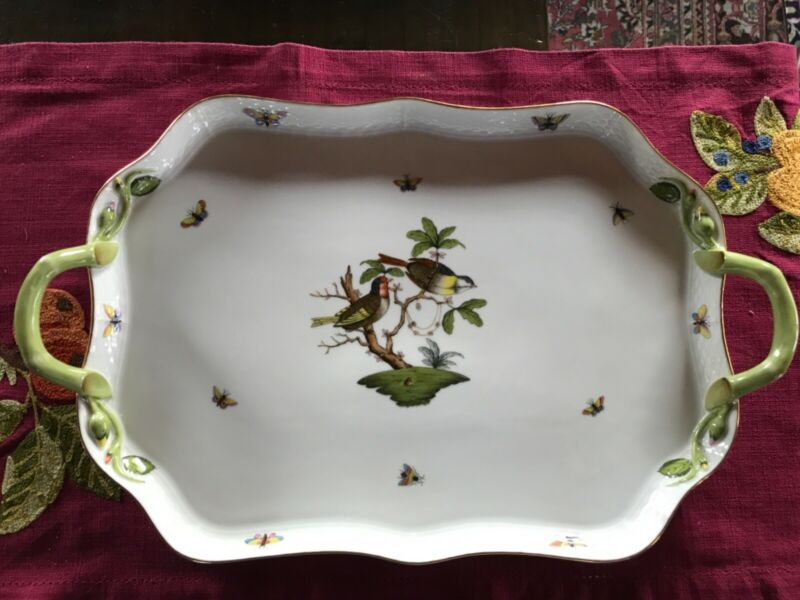 herend rothschild bird large serving tray with handles