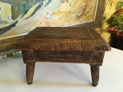 Small French Hand Carved Wooden Stool Flowers Initials Of Maker on Underside