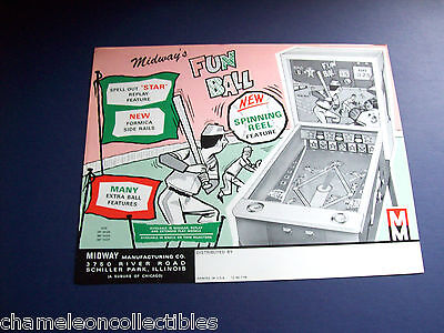FUN BALL By MIDWAY 1966 ORIG NOS BASEBALL ARCADE GAME MACHINE FLYER BROCHURE