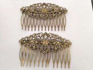 VINTAGE HAIR/CLIPS/GRIPS/COMB COPPER BOBBY PINS BUTTERFLY ANTIQUE BRONZE X2
