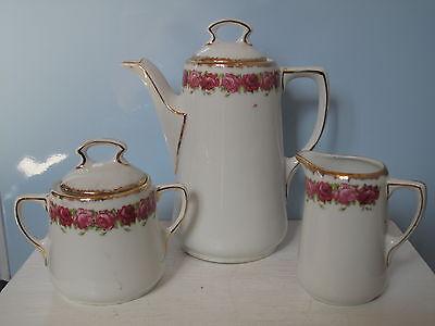 Antike Tausendschön Kaffeekanne, Zuckerdose, Milchkännchen Jugendstil Shabby