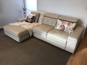 3 seater 100% genuine modern leather couch inc chase Beige from Plush