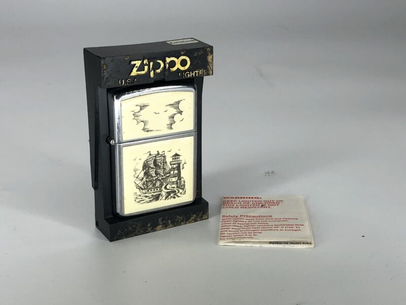 NOS Unused New 1985 Zippo Lighter - No. 359 Scrimshaw Lighthouse Ship W/ Box