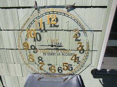 VINTAGE ORIGINAL REVERSE PAINTED GLASS TIME TO START AN ACCOUNT BANK TRADE SIGN