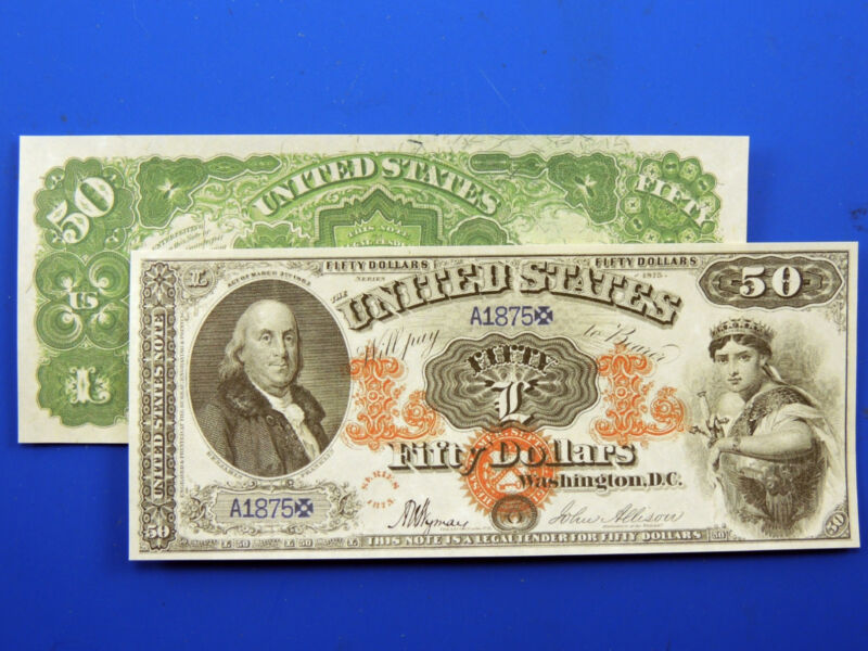 Reproduction $50 1875 Legal Tender Note US Paper Money Currency Copy