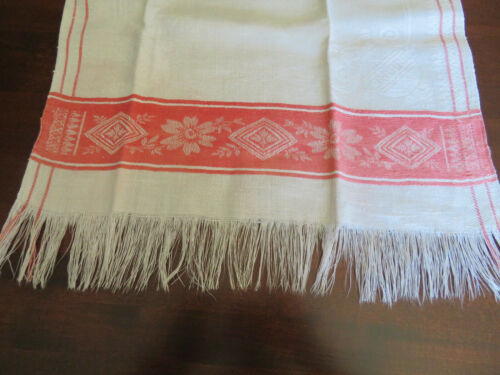 Antique Damask Linen Turkey Red Towel ~ Violinist