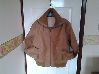 Light Brown (Tan) Leather Fully Lined Jacket By Clockhouse Size Large