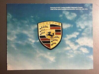 1980 Porsche 911 SC Weissach Showroom Advertising Folder / Brochure RARE!! L@@K