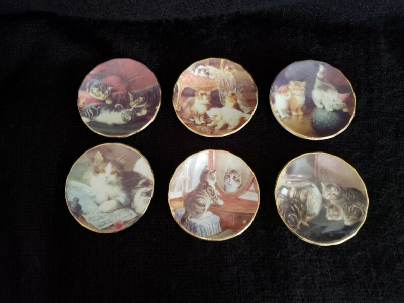 Victorian Trading Co. 1898 Miniature Cat - Kitten Plates Set of 6