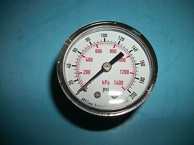 New Pressure Gauge Air Compressor Hydraulic 200 Psi 2 Face Back Mount 14 Npt