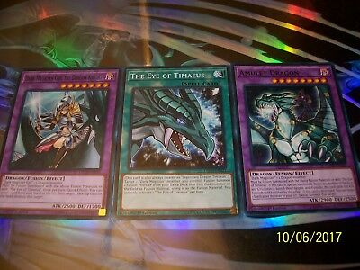 The Eye of Timaeus + Dark Magician Girl the Dragon Knight + Amulet Dragon LEDD