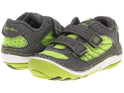 Stride Rite Summer Shoes Lime/Grey Soft Infants Size 4 Wide ----5 inches long