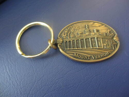 MOUNT VERNON KEYCHAIN NEW BRASS METAL OVAL HISTORY 3D RELIEF GEORGE WASHINGTON.