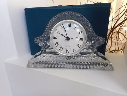 Bohemia 24%+ Lead Crystal Mantle Clock Quartz Movement Rare