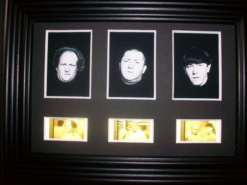 THREE STOOGES Framed Trio Movie Film Cell Memorabilia Collectible Gift Cinema