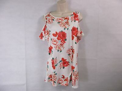 For G   Pl Womens L White Floral Print Cut Out Shoulder Short Sleeve Tops B New