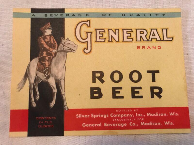 General Brand Vintage Root Beer Label, Madison Wisconsin