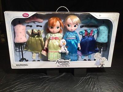 Disney Store ANIMATORS Collection Frozen Elsa Anna Deluxe Fashion Doll Boxed Set