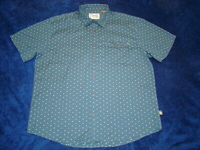 Howler Brothers Mens Cotton Short Sleeve Green Pocket Button Shirt  Large