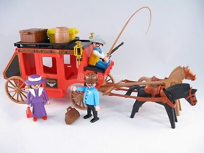 PLAYMOBIL VINTAGE 3245 RED STAGE COACH WESTERN-100% COMPLETE-EXCELLENT