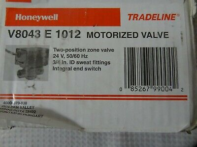Honeywell V8043e1012 Sweat Zone Valve Two Position 34 Motorized Valve-open