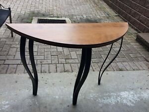 Beautiful Solid Maple and Steel Legs Hall Table