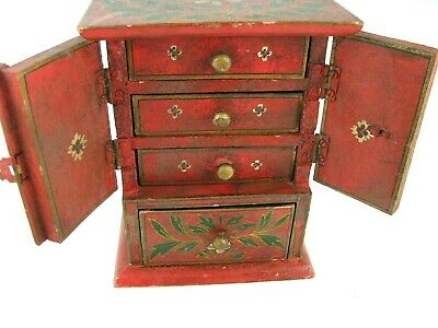 Hand Painted Wood Jewelry - VINTAGE SHABBY CHIC JEWELRY BOX THICK WOOD 4 DRAWER HAND PAINTED