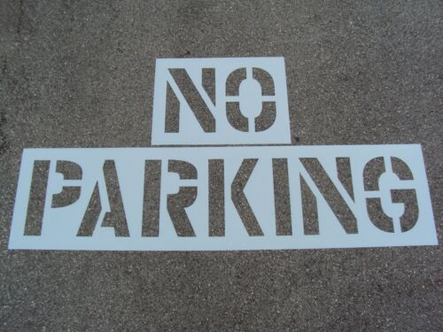 """24"""" NO PARKING Parking Lot Stencil 12"""" Wide Letters 3"""" Spacing 1/16"""" Thick LDPE"""