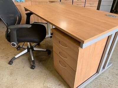 office desk, chair & pedestal used