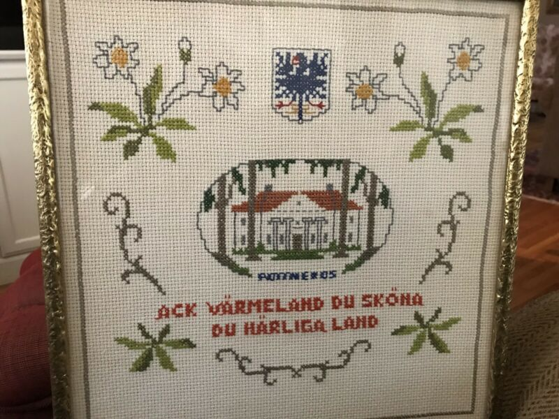 VINTAGE SWEDISH CROSSTITCH SAMPLER