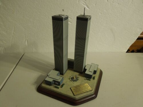 "Danbury Mint Twin Towers Commemorative diaroma 9"" tall to top of antenna"